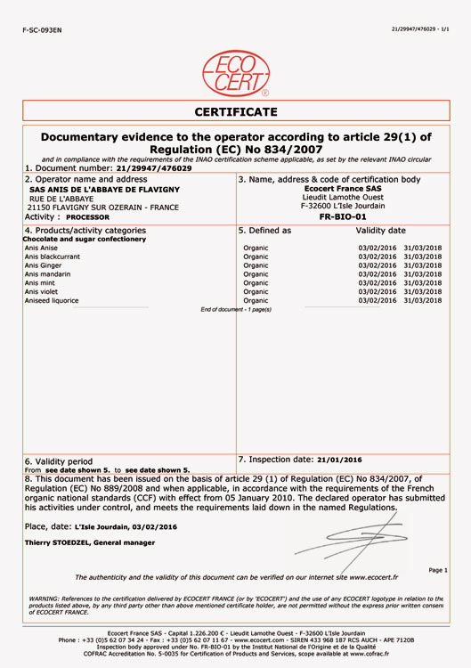 Ecocert certificates for our organic range (export).