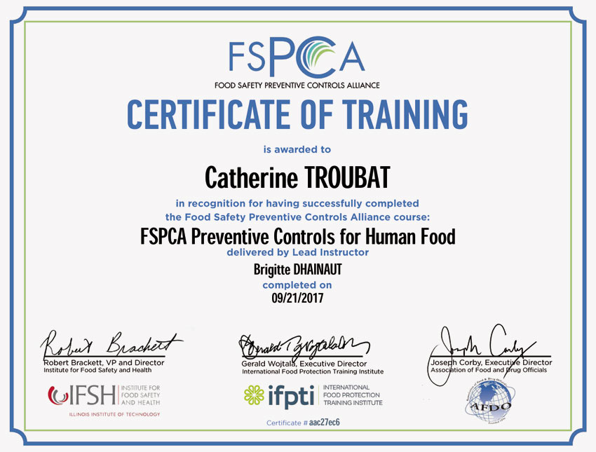 Training certificate for the QA team based on American food safety standards.